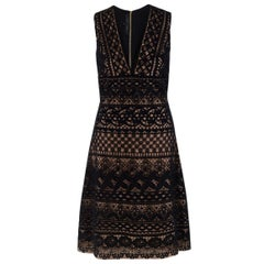 Elie Saab Black Lace-Overlay Dress FR 36 / US 4