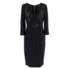 Elie Saab Black Lace Panelled Double Zip Dress - Size US 8