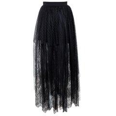 Elie Saab Black Plumetis Tulle Lace Trim Tiered Maxi Skirt S