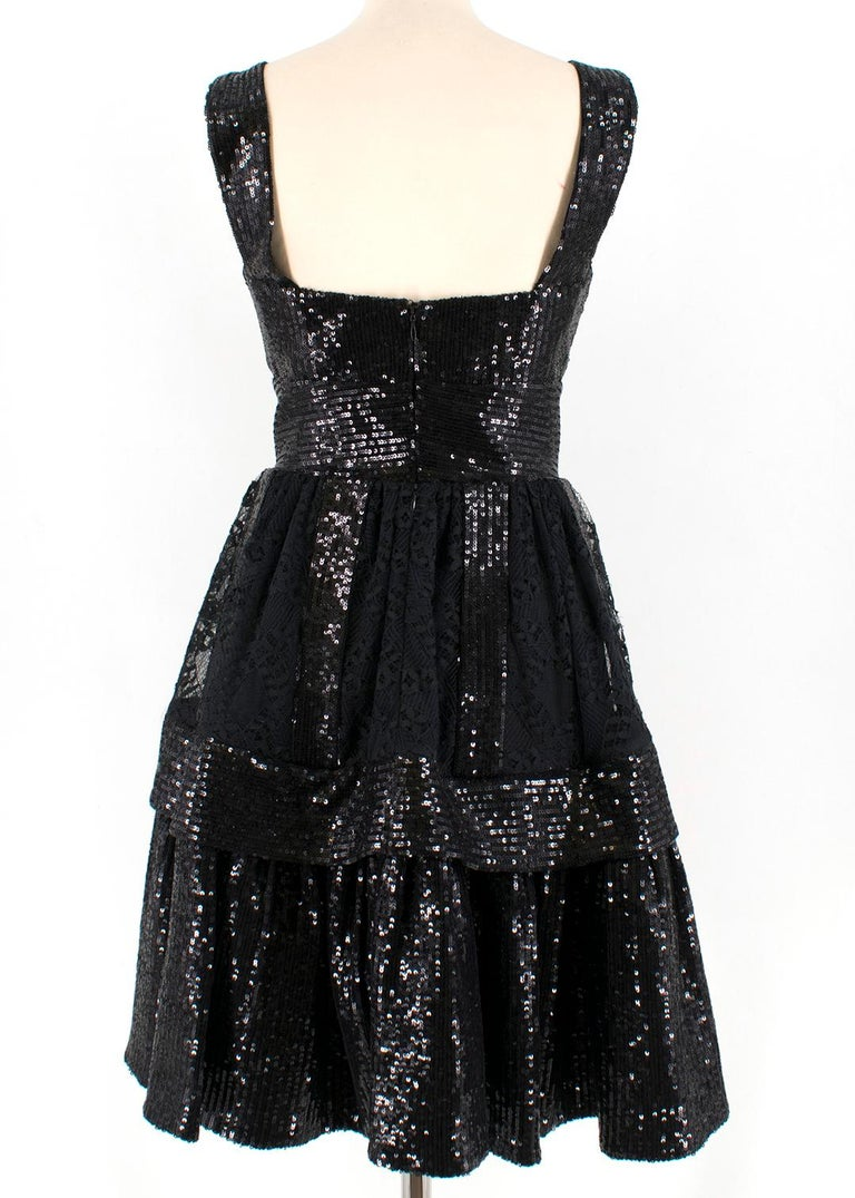 Elie Saab Black Sequin & Lace Layered Mini Dress estimated size XS In Excellent Condition In London, GB