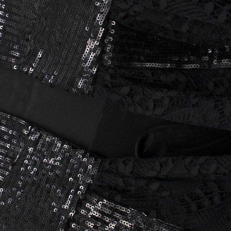 Women's Elie Saab Black Sequin & Lace Layered Mini Dress estimated size XS
