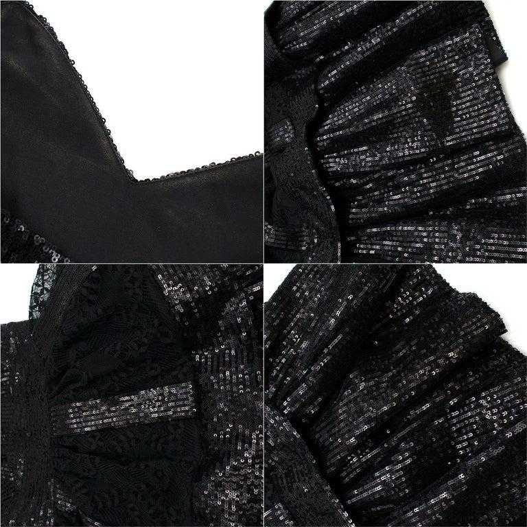 Elie Saab Black Sequin & Lace Layered Mini Dress estimated size XS 3