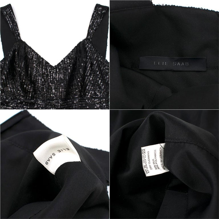 Elie Saab Black Sequin & Lace Layered Mini Dress estimated size XS 4