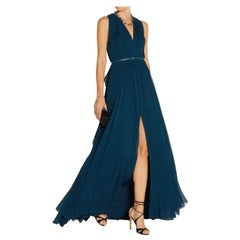 Elie Saab Blue Pleated silk-chiffon gown - Size US 4