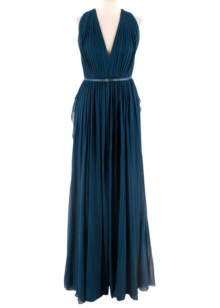 Elie Saab Blue Pleated silk-chiffon gown - Size US 4 In Excellent Condition In London, GB