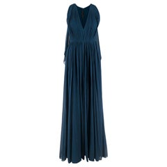 Elie Saab Blue Pleated silk-chiffon gown SIZE XS