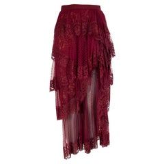 ELIE SAAB burgundy TIERED CHANTILLY LACE TULLE MIDI SKIRT 38 XS