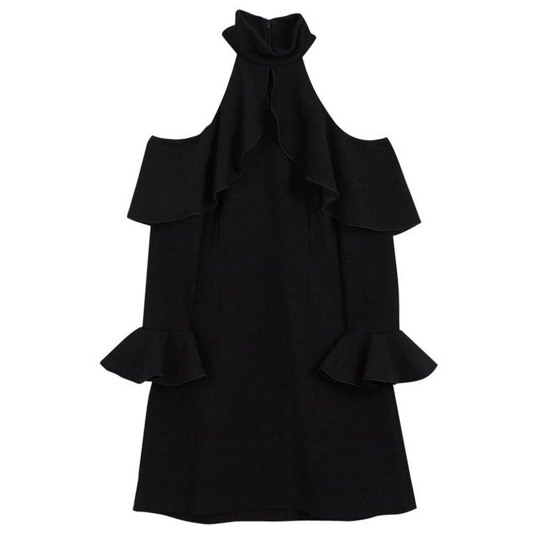 Elie Saab Cold-Shoulder Ruffled Crepe Mini Dress For Sale