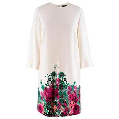 Elie Saab floral-print white cady shift dress US 4