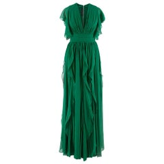Elie Saab green silk ruffled lace trim gown SIZE XS