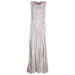 Elie Saab Ivory Palm Leaf Pattern Embellished Sleeveless Tulle Gown S