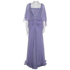 Elie Saab Lilac Silk Cape Sleeve Gathered Detail Evening Gown S
