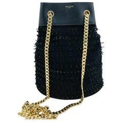 Elie Saab Medium Bucket Bag -  Black Suede/Gold