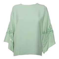 Elie Saab Mint Green Crepe Sequin Embellished Wide Sleeve Detail Top M