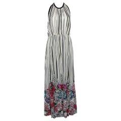 Elie Saab Monochrome Striped Silk Floral Print Halter Maxi Dress M