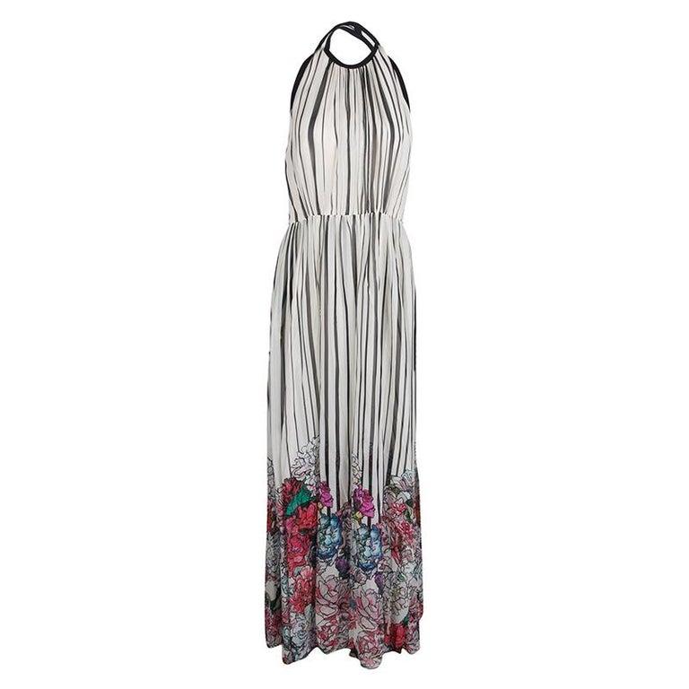 Gray Elie Saab Monochrome Striped Silk Floral Print Halter Maxi Dress S For Sale