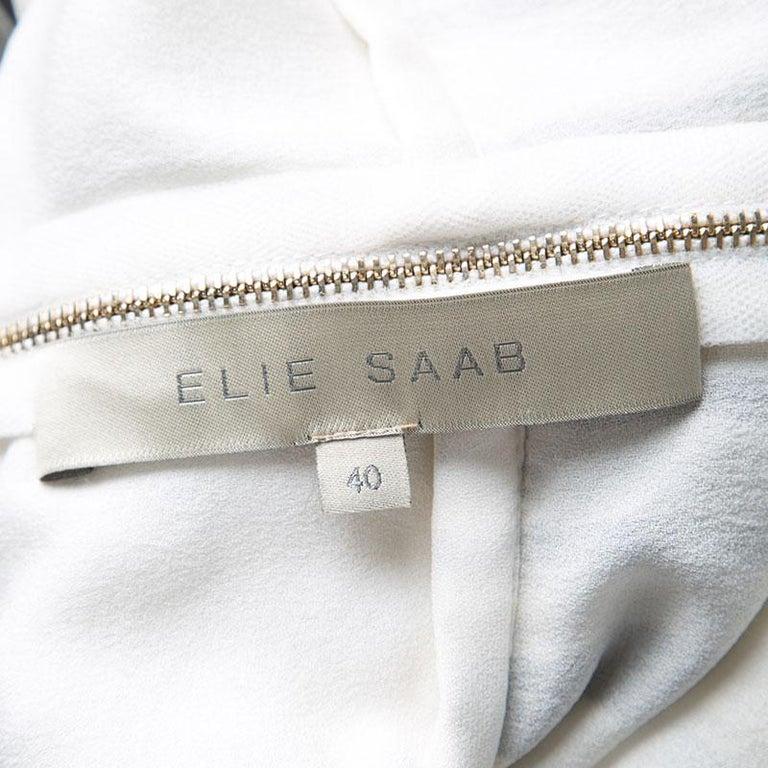 Women's Elie Saab Monochrome Striped Silk Floral Print Halter Maxi Dress S For Sale