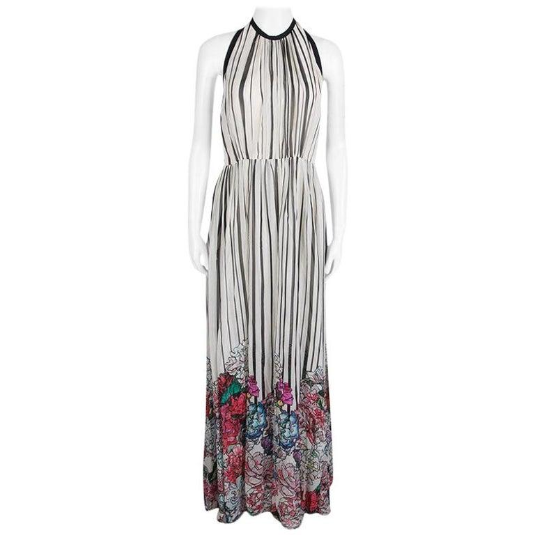 Elie Saab Monochrome Striped Silk Floral Print Halter Maxi Dress S For Sale