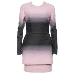 Elie Saab Pink Ombre Ribbed Layered Dress S