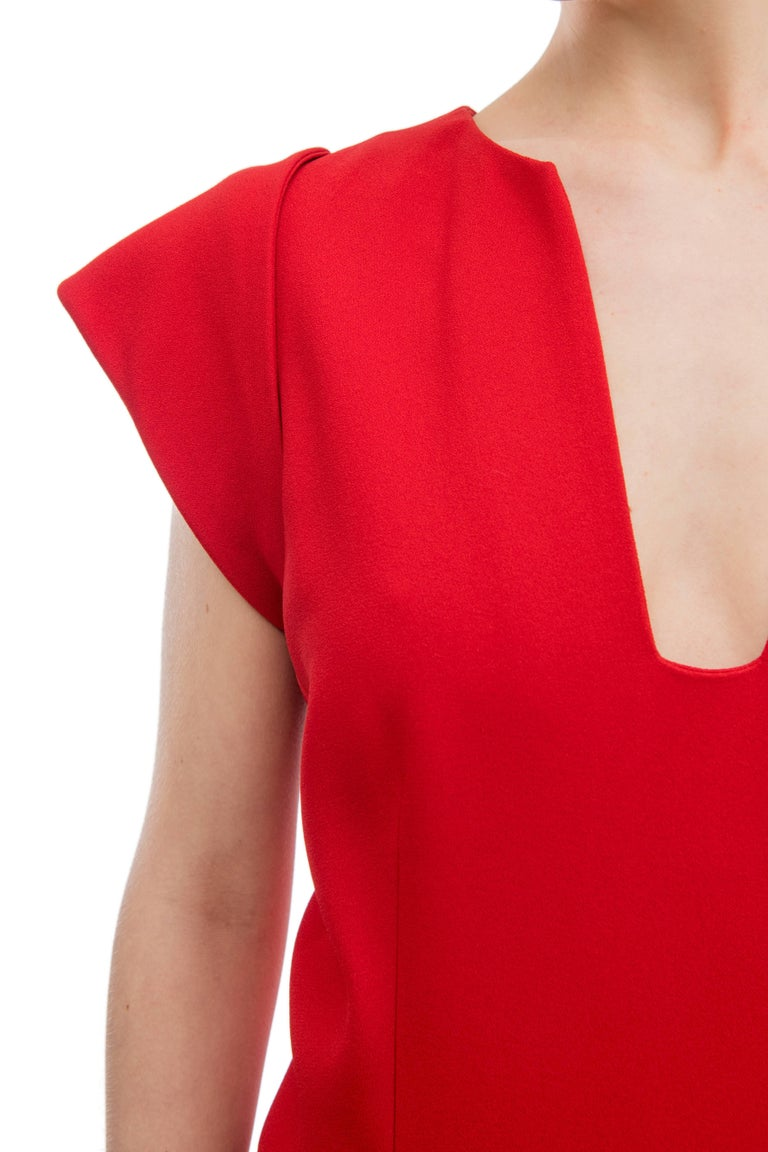 Women's Elie Saab Red Cocktail Dress with Gathered Waist For Sale