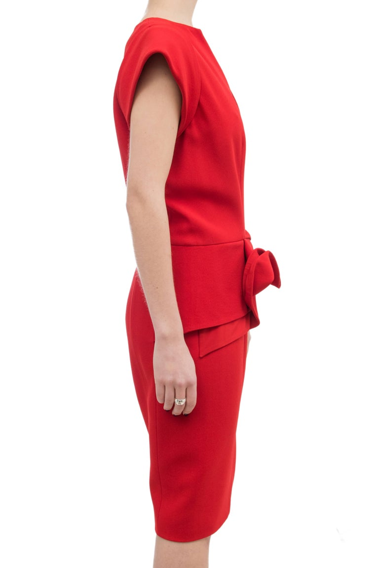 Elie Saab Red Cocktail Dress with Gathered Waist For Sale 2
