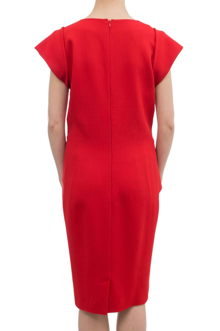Elie Saab Red Cocktail Dress with Gathered Waist For Sale 3