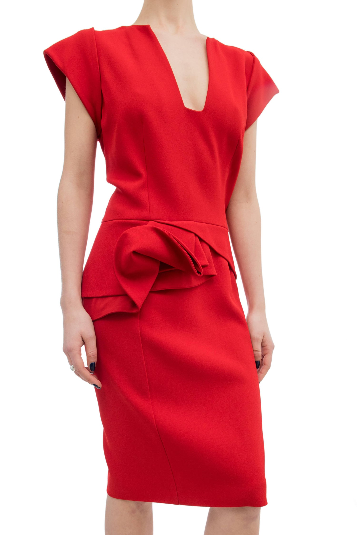 Elie Saab Red Cocktail Dress with Gathered Waist For Sale at 1stdibs