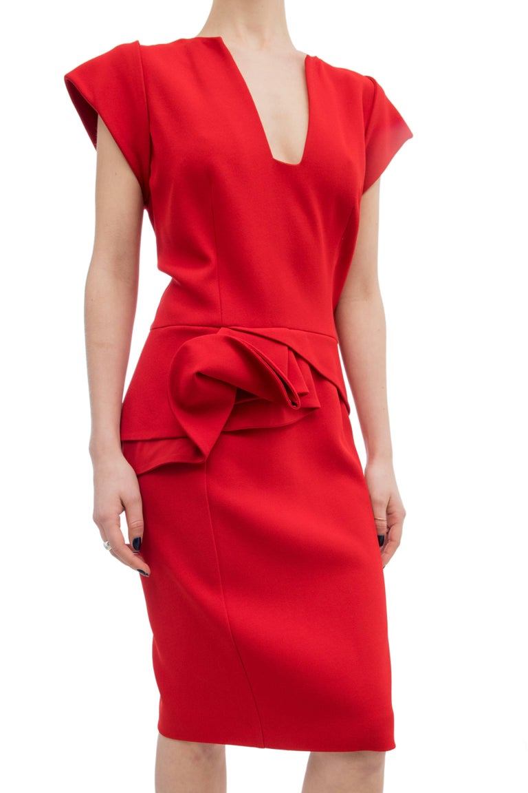 Elie Saab Red Cocktail Dress with Gathered Waist For Sale 1