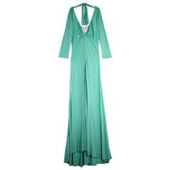 Elie Saab Ruched Waist Baby Blue Gown M