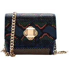 Elie Saab Snakeskin Effect Turnlock Small Shoulder Bag