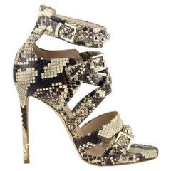 Elie Saab Studded Snake Effect Leather Sandals EU 38 UK 5 US 8