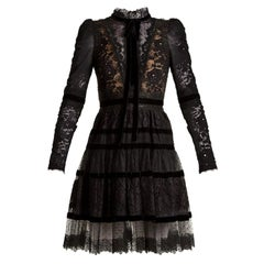 Elie Saab Velvet-Trimmed Lace Mini Dress