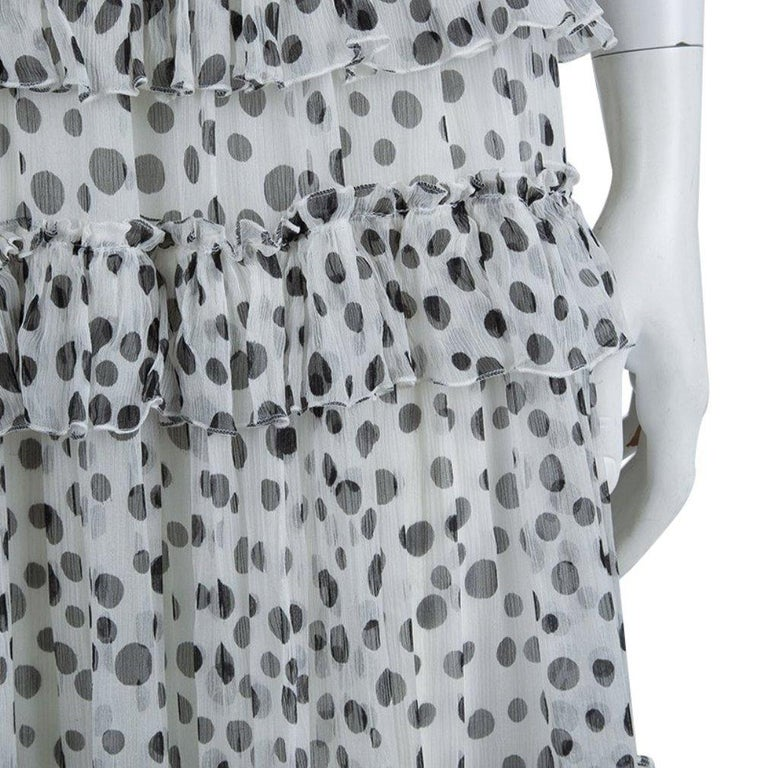 Elie Saab White Lace Detail Polka Dotted Tiered Sleeveless Gown M For Sale 2