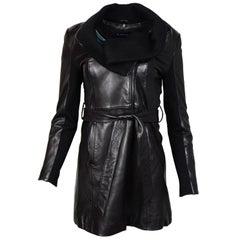 Elie Tahari Black Leather Belted Coat W/ Knit Cowl Neck Collar Sz XS