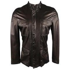 ELIE TAHARI Chest Size 38 Black Solid Leather Zip & Snaps Jacket