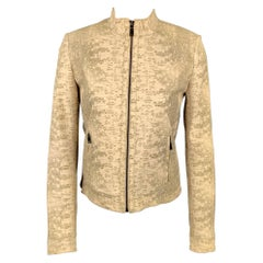 ELIE TAHARI Clearly Size XS Beige Embossed Leather Jacket