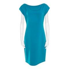 Elie Tahari Jade Green Knit Bateau Zipper Neck Detail Frayed Hem Shift Dress M