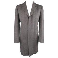 ELIE TAHARI L Grey Herringbone Wool / Cashmere Notch Lapel Over Coat