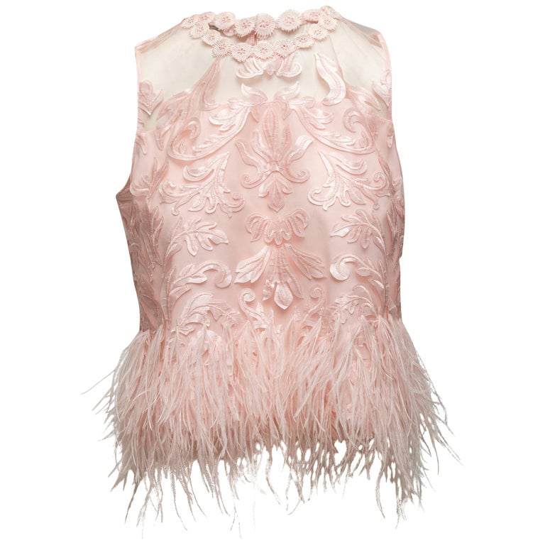 Elie Tahari Light Pink Feather-Trimmed Sleeveless Top For Sale