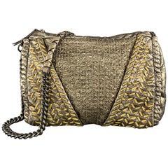 ELIE TAHARI Metallic Quilted Leather Woven Chain Strap Handbag