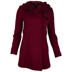 Elie Tahari Red Wool Coat W/ Ruffle Collar Sz XS