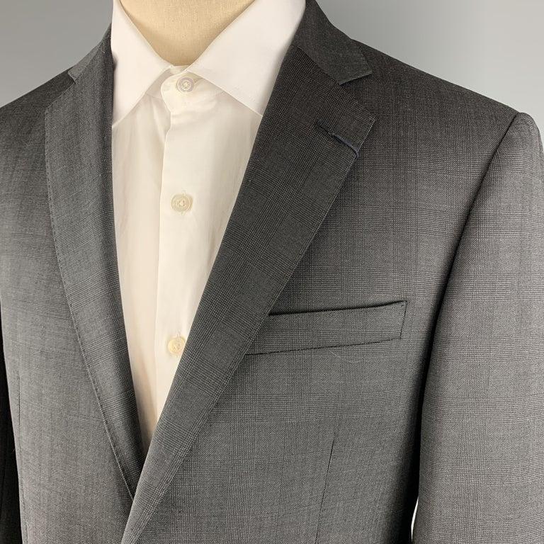 Black ELIE TAHARI Size 40 Charcoal Glenplaid Wool Notch Lapel Suit NWT For Sale