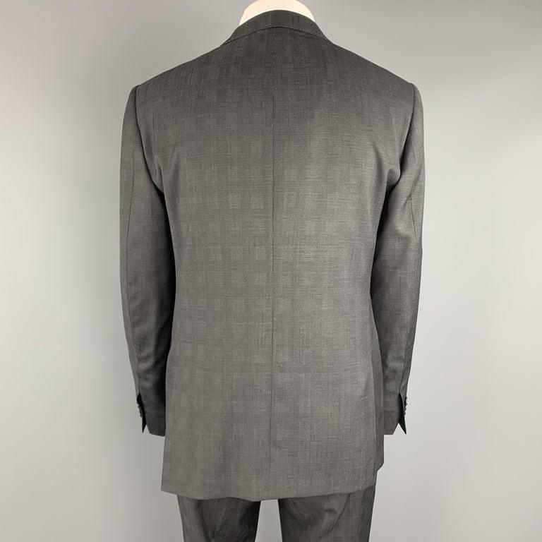 Men's ELIE TAHARI Size 40 Charcoal Glenplaid Wool Notch Lapel Suit NWT For Sale