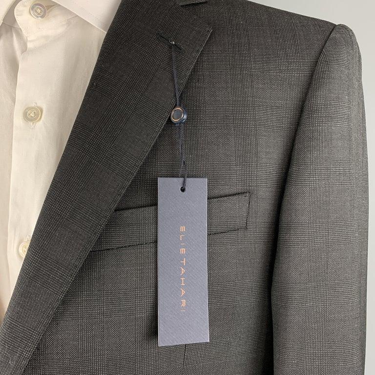 ELIE TAHARI Size 40 Charcoal Glenplaid Wool Notch Lapel Suit NWT For Sale 3