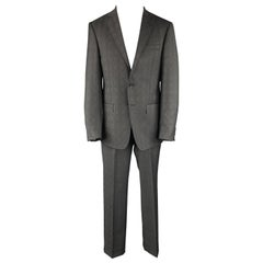 ELIE TAHARI Size 40 Charcoal Glenplaid Wool Notch Lapel Suit NWT