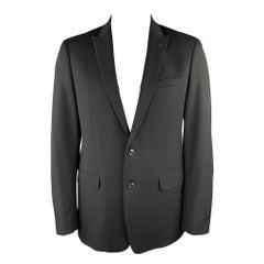 ELIE TAHARI Size 42 Regular Black Wool Peak Lapel Sport Coat