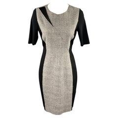 ELIE TAHARI Size 6 Black & Grey Mixed Fabrics Wool Blend Shift Dress