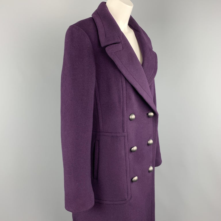 Black ELIE TAHARI Size L Purple Wool Blend Double Breasted Metal Button Coat For Sale