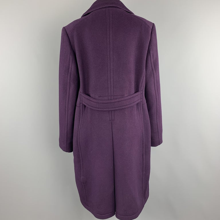 ELIE TAHARI Size L Purple Wool Blend Double Breasted Metal Button Coat In New Condition For Sale In San Francisco, CA