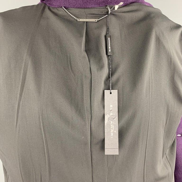 Women's ELIE TAHARI Size L Purple Wool Blend Double Breasted Metal Button Coat For Sale
